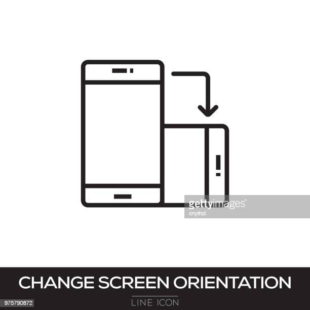 change screen rotation line icon - turning stock illustrations