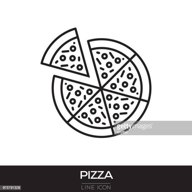 pizza line icon - pizza stock illustrations