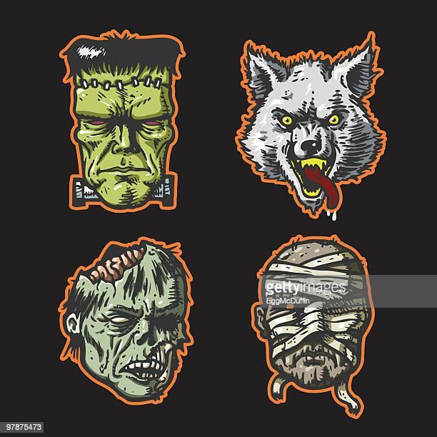 ilustrações de stock, clip art, desenhos animados e ícones de cabeças de helloween - frankenstein