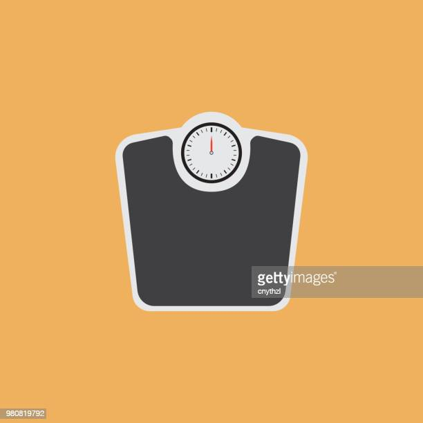 weight scales flat icon - balance stock illustrations