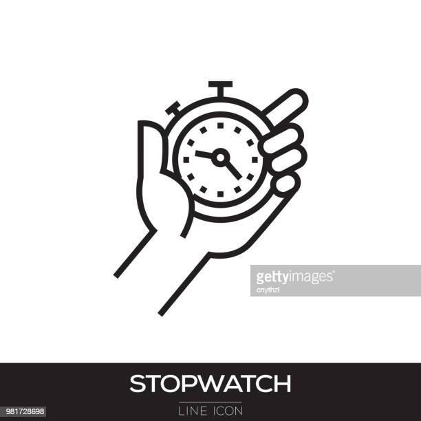 ilustrações, clipart, desenhos animados e ícones de ícone de cronômetro linha - relógio de pulso