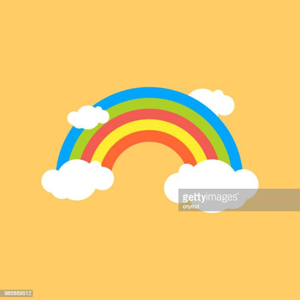 rainbow flat icon - rainbow stock illustrations, clip art, cartoons, & icons