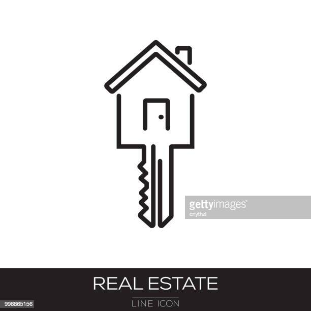 real estate line icon - key stock illustrations