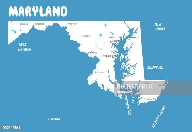 vector maryland map - maryland stock illustrations, clip art, cartoons, & icons
