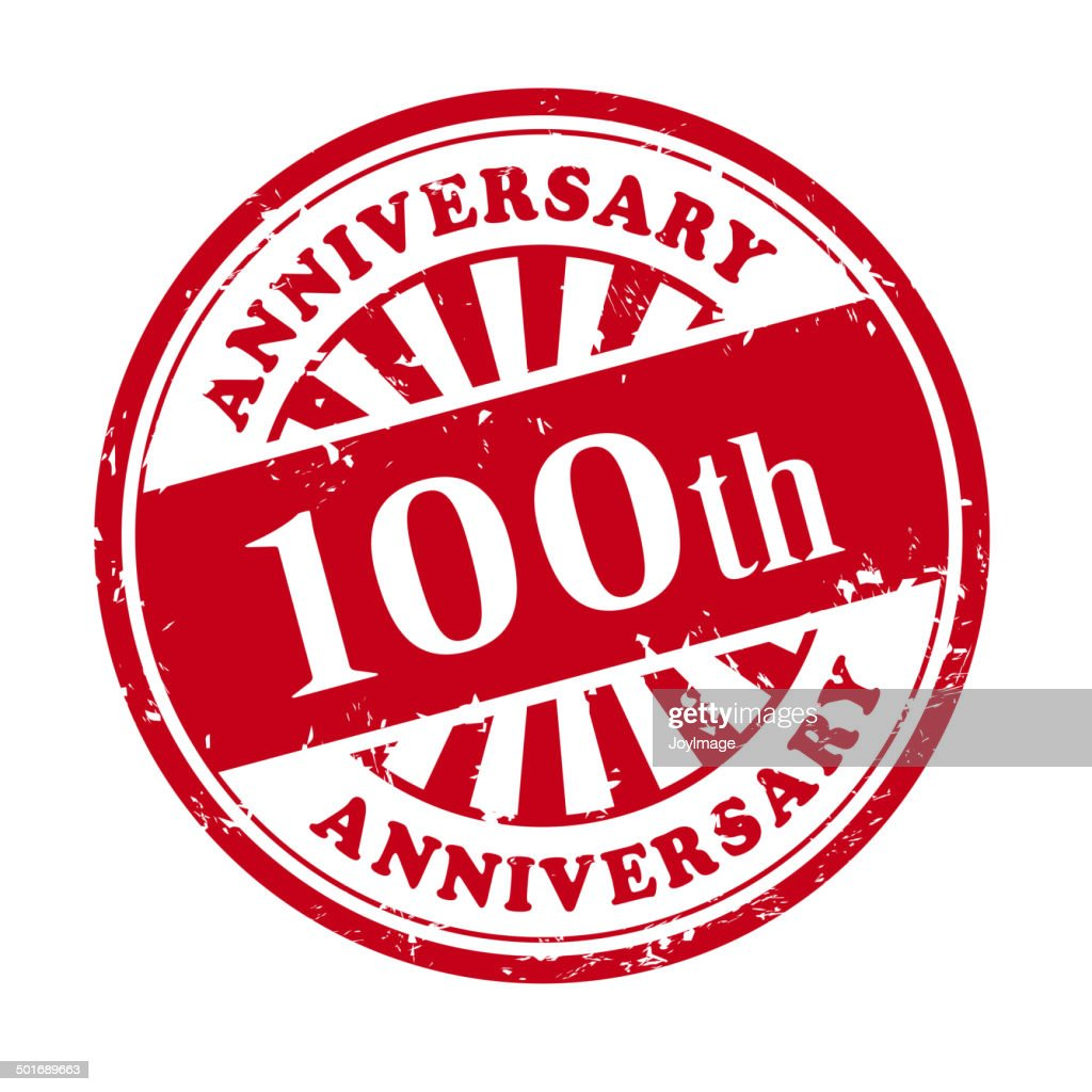 100th anniversary grunge rubber stamp