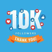 10k followers, social sites post, greeting card