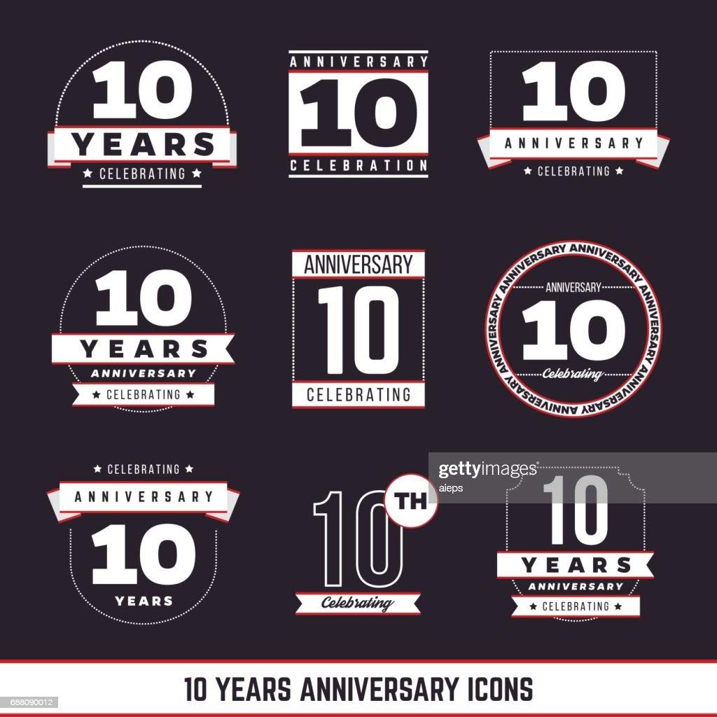 10th Anniversary Vintage Logo Set 10 Years Symbols Vector Art