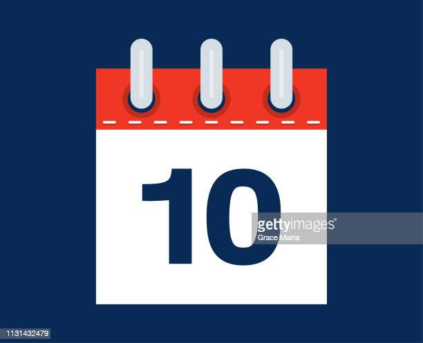 10th calendar date of the month - vector - countdown stock illustrations
