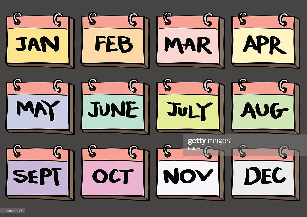 12-Month Calendar Cartoon Vector Icon Set