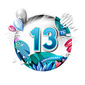 13th anniversary background with balloon and confetti on white. 3D paper style illustration. Poster or brochure template. Vector illustration.