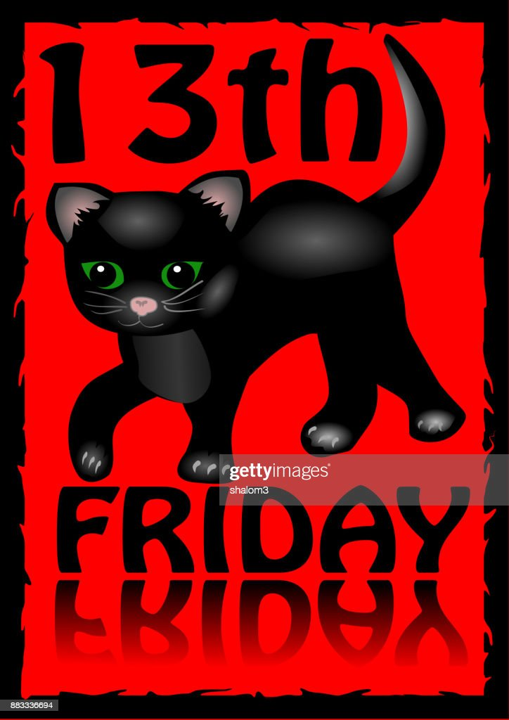 13th friday poster. Humorous flyer with a little black kitten cartoon on red background.