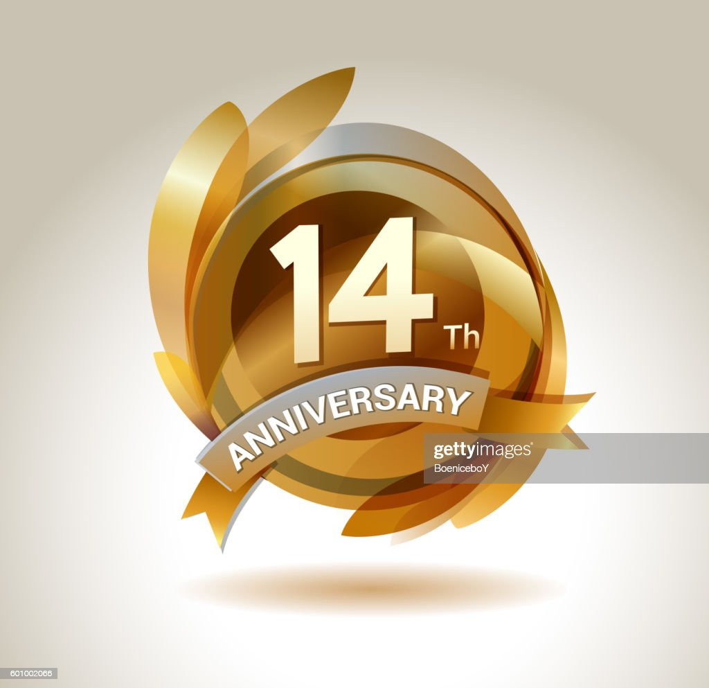 14th anniversary ribbon logo with golden circle and graphic elements