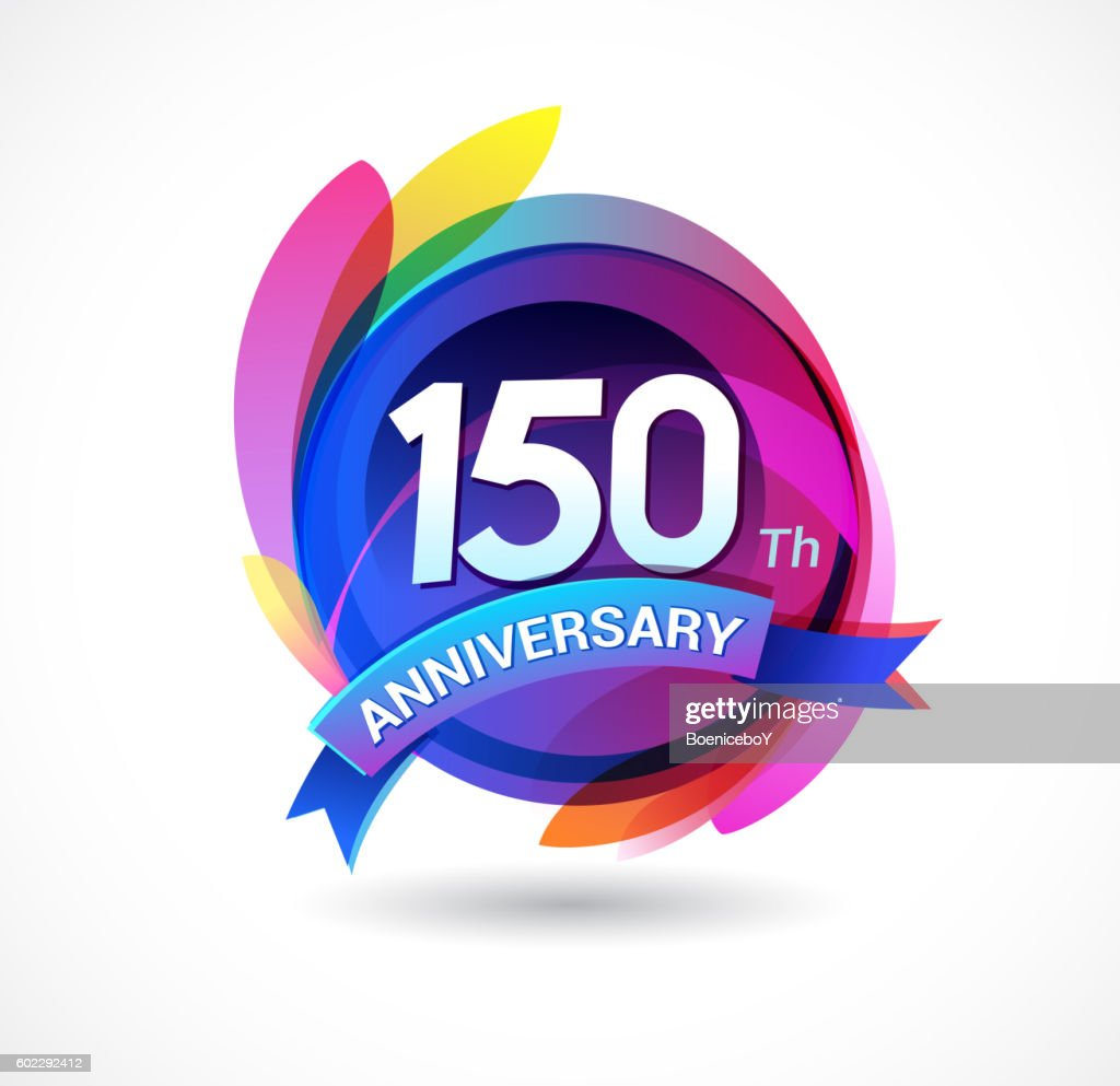 150th anniversary - abstract background with icons and elements