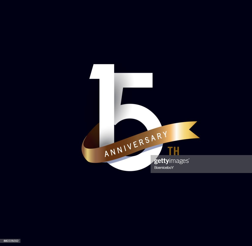 15th anniversary icon with gold ribbon. template design for web, game ,Creative poster, booklet, leaflet, flyer, magazine, invitation card