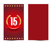 15th bithday decorated card template. 15-year anniversary invitation.