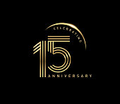 15th celebrating anniversary logo with golden ring isolated on black background, vector design for greeting card and invitation card.