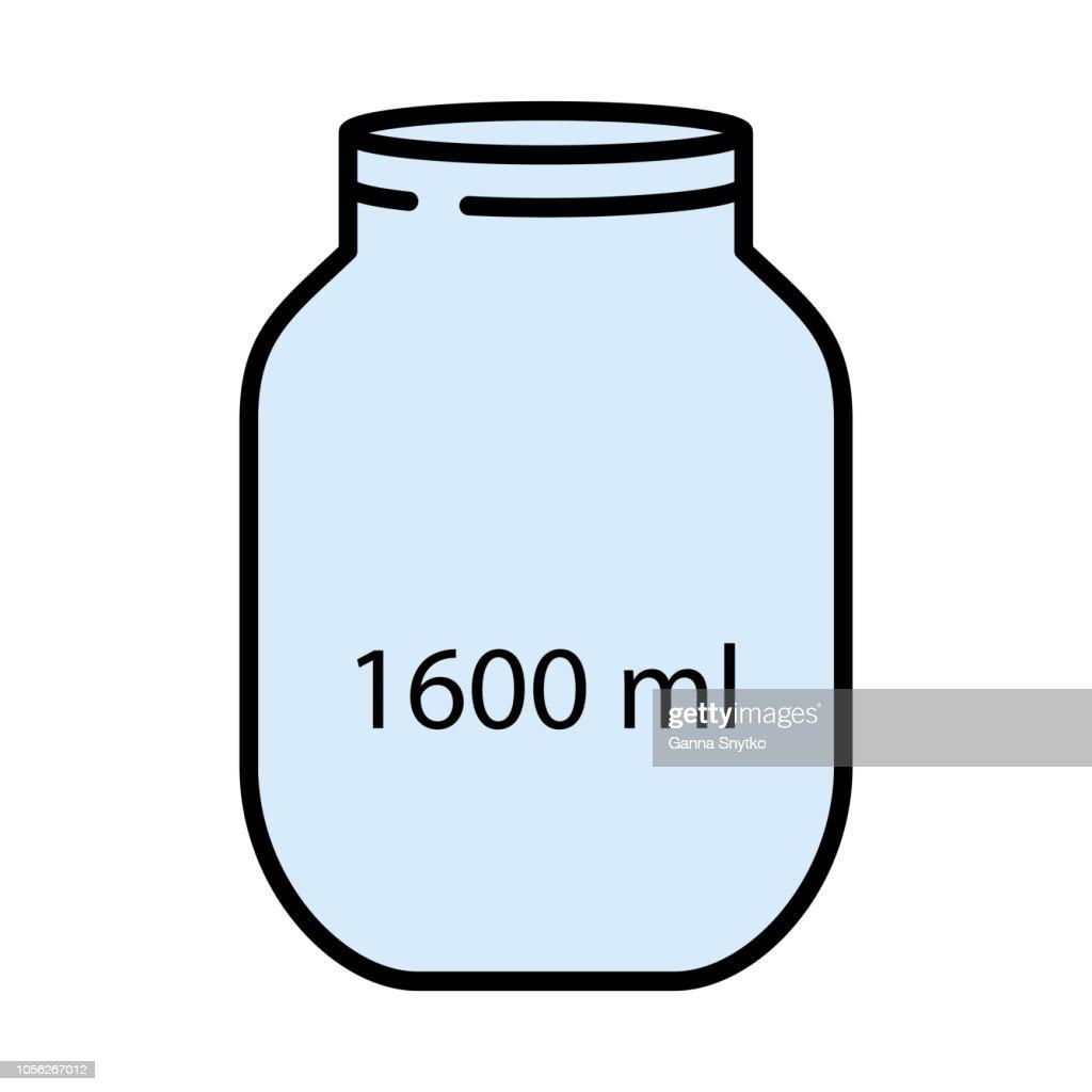 1600ml big capacity empty glass mason jar. Flat style. Vector illustration. Cooking concept