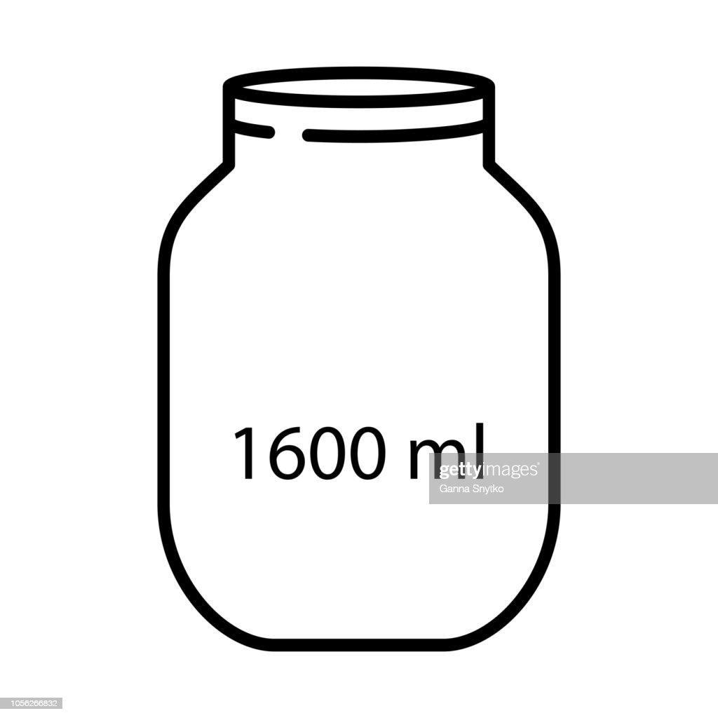 1600ml big capacity empty glass mason jar. Line art style. Vector illustration. Cooking concept