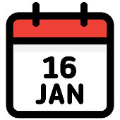 16.January - Calendar Icon - Vector Illustration
