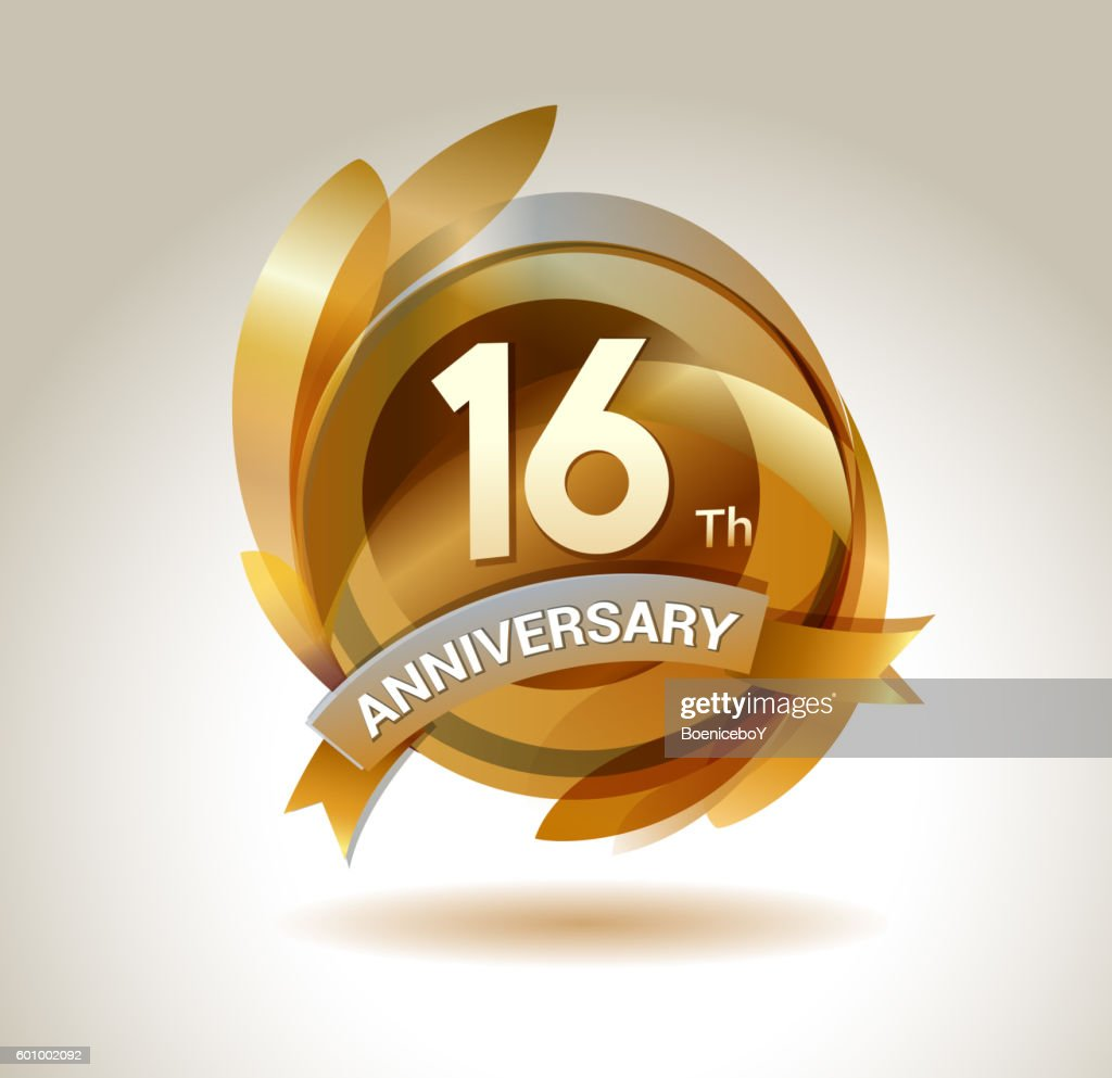16th anniversary ribbon logo with golden circle and graphic elements