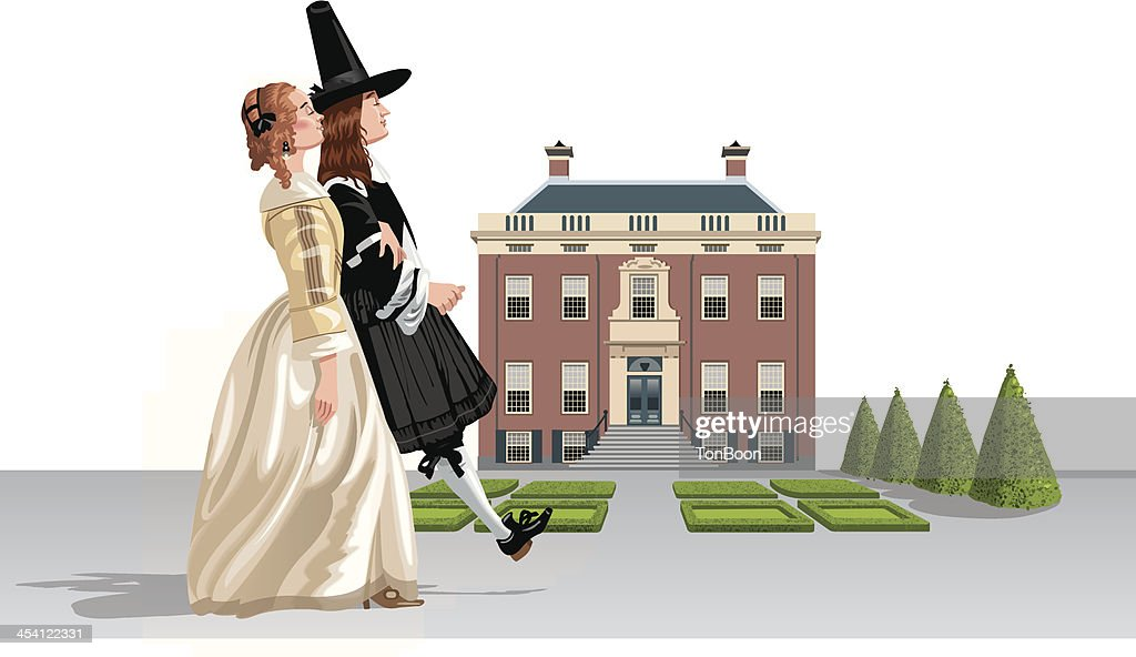 17th century couple walking country house