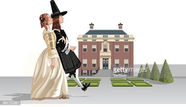 illustrazioni stock, clip art, cartoni animati e icone di tendenza di xviiº secolo coppia camminare country house - xvii° secolo