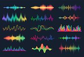 180619_Sound waves. Frequency audio waveform, music wave HUD interface elements, voice graph signal. Vector audio wave set [Converted]