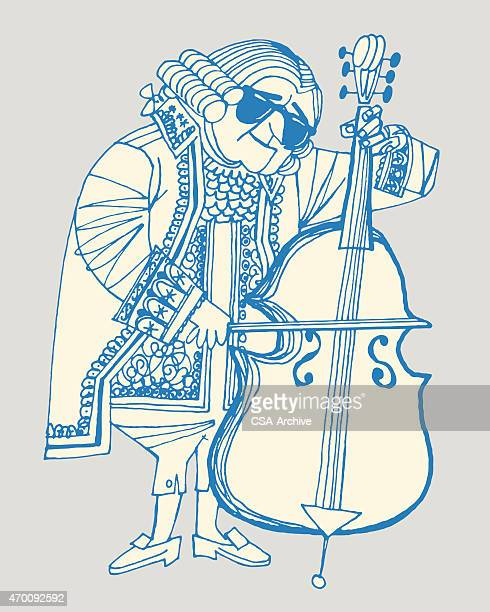 18th century man playing double bass - bass instrument stock illustrations, clip art, cartoons, & icons