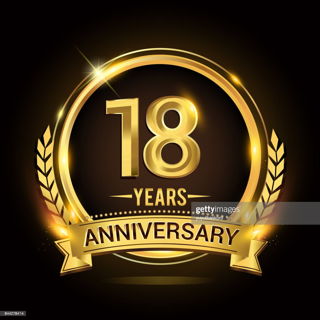 18th golden anniversary icon, with shiny ring and gold ribbon, laurel wreath isolated on black background, vector design