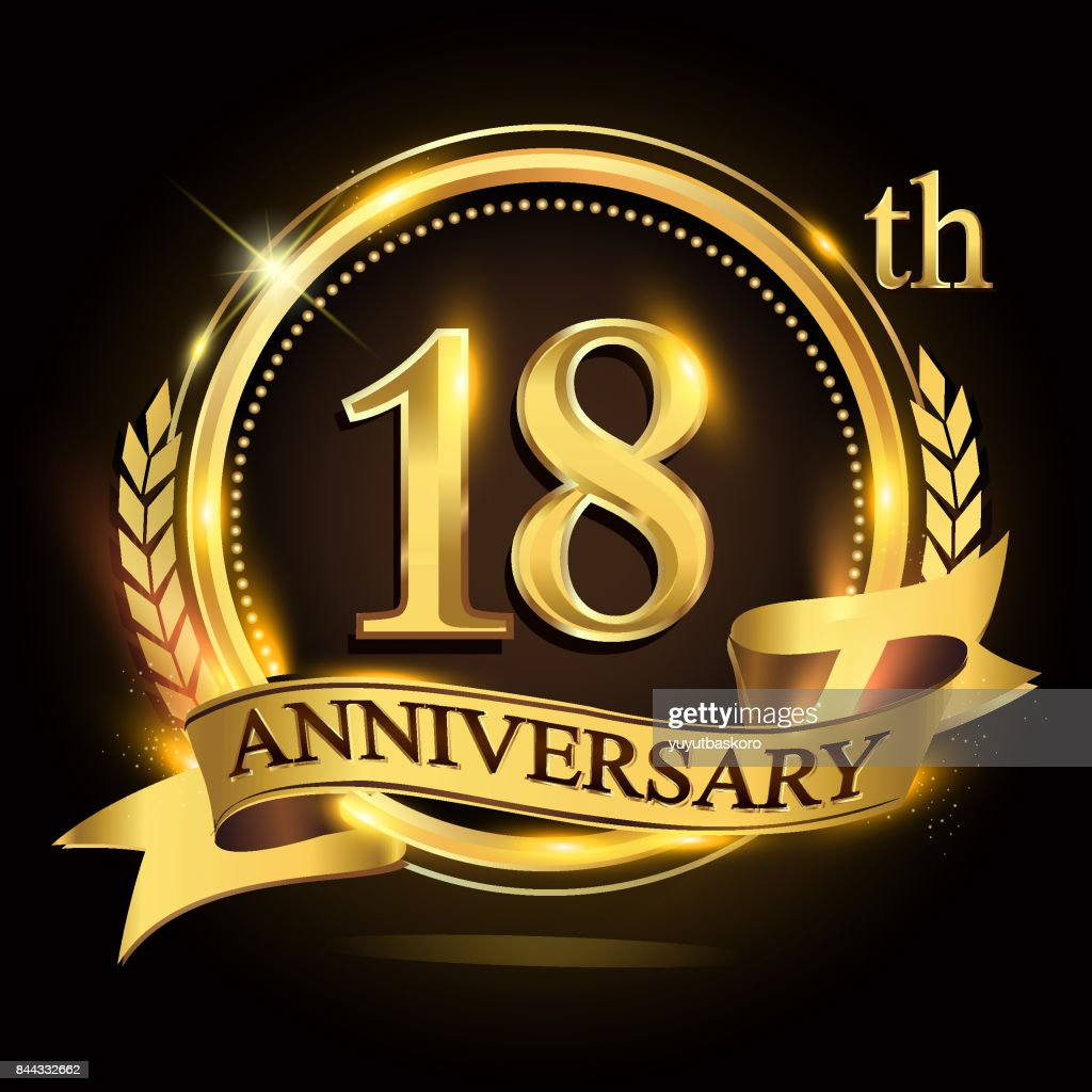 18th golden anniversary logo with ring and ribbon, laurel wreath vector design.