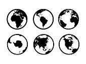 1901.m40.i030.n020.S.c12.144256648 Earth globe icons. World map geography internet global commerce international tourism vector globe symbols