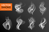 1901.m40.i110.n009.S.c12.1054167800 Smoke isolated. White smoking clouds hot food steam hookah tea coffee smoke steaming texture on black background vector set_01