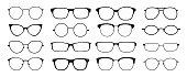 1902.m30.i020.n046.P.c25.533983342 Glasses silhouette. Sun glasses hipster frame set, fashion black plastic rims, round geek style retro nerd glasses. Vector sun glasses