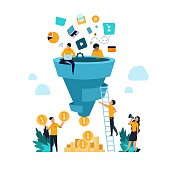 1908.m30.i010.n021.S.c12.1292042506 Funnel leads generation. Attracting followers strategy concept with cartoon people and inbound marketing. Vector conversion rate