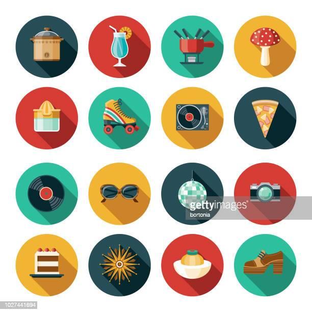 ilustraciones, imágenes clip art, dibujos animados e iconos de stock de conjunto de iconos de diseño plano de 1970 - gafas de sol