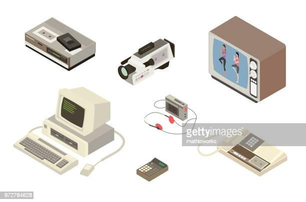 1980s digital equipment illustration - answering machine stock illustrations, clip art, cartoons, & icons