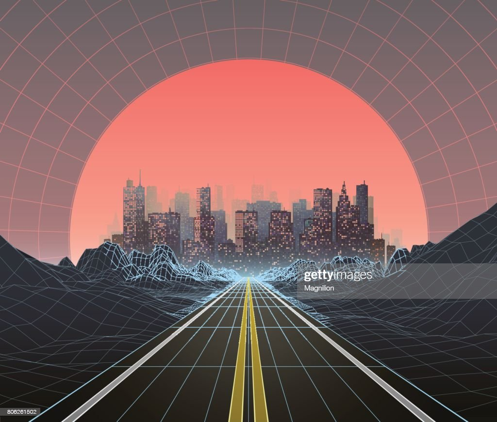 1980s Style Retro Digital Landscape with City at Sunset : stock vector