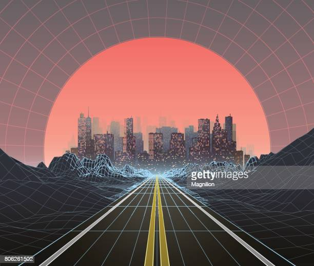 1980s style retro digital landscape with city at sunset - copy space stock illustrations