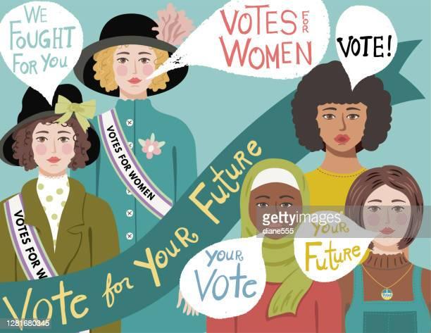 19th amendment vote - suffragist stock illustrations