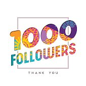 1k social media follower number thank you template