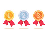 1st, 2nd and 3rd places. Gold, silver, bronze medal. First, second, third place. Award winner. Trophy with red ribbon.