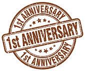 1st anniversary brown grunge stamp