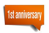 1st anniversary orange 3d speech bubble
