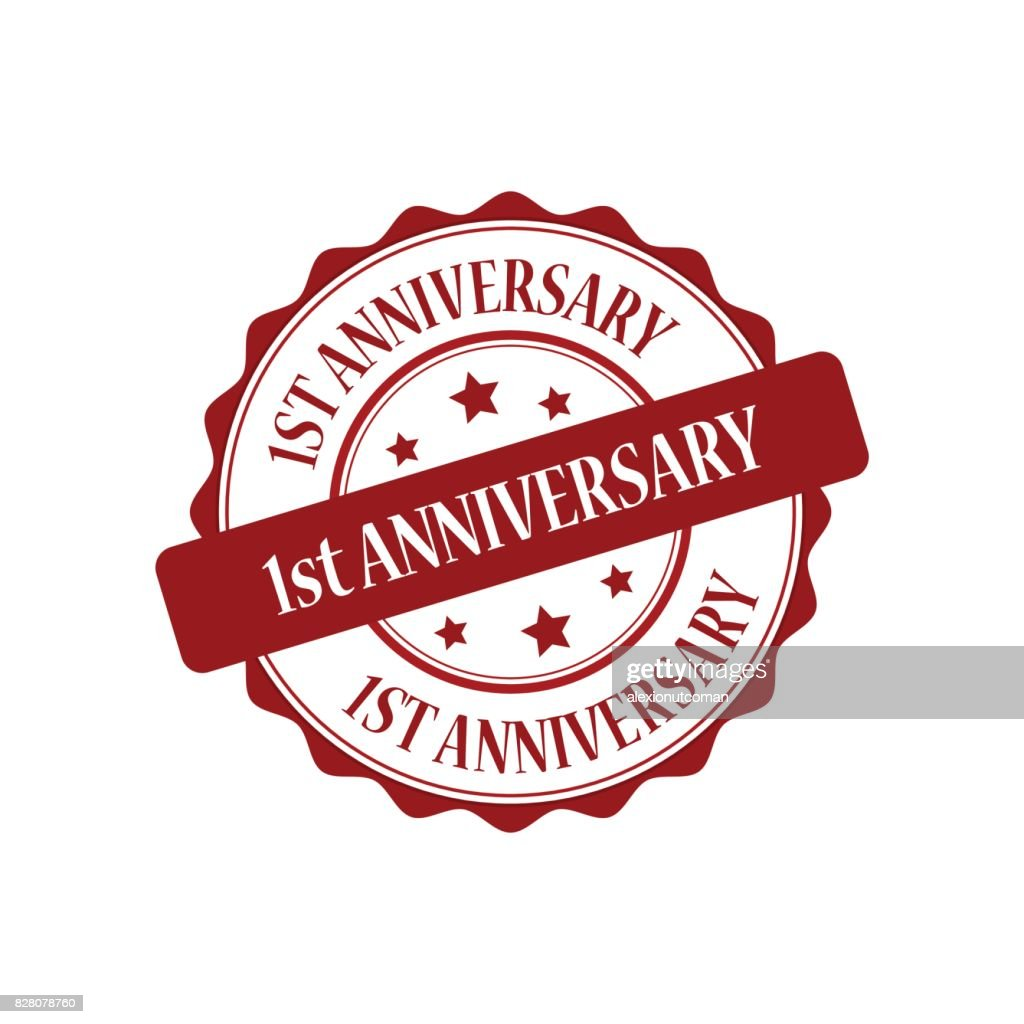 1st anniversary red stamp illustration