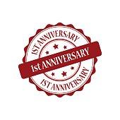 1st anniversary red stamp illustration