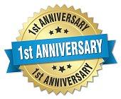 1st anniversary round isolated gold badge