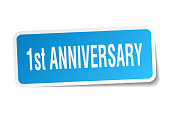 1st anniversary square sticker on white