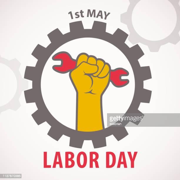 illustrazioni stock, clip art, cartoni animati e icone di tendenza di celebrazione del labor day del 1° maggio - motore