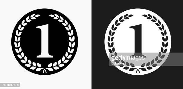 1st Place Medal Icon on Black and White Vector Backgrounds