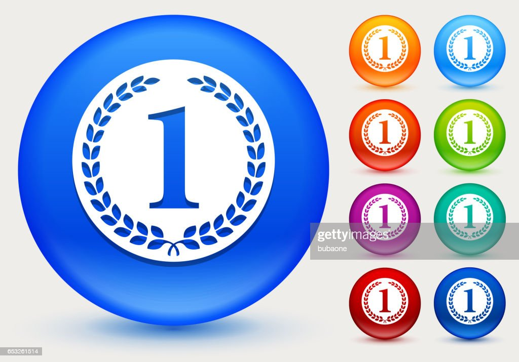 1st Place Medal Icon on Shiny Color Circle Buttons : Vector Art